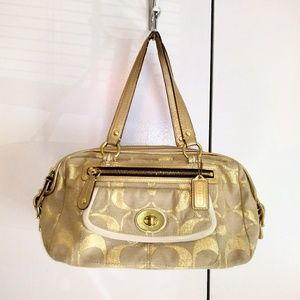COACH Beige Gold Signature C Handbag Purse Accents